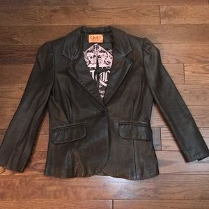 AUTHENTIC Juicy Couture Leather Blazer Size Small